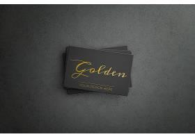 金色图案黑色商务名片_9866087