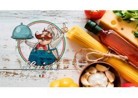 顶级意大利食品配料木质背景_5451824