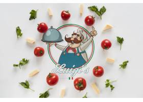 白色背景的顶级意大利食品配料_54518