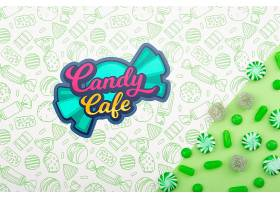糖果咖啡馆和绿色糖果和水滴的摆放_6321142