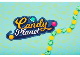 糖果星球配上美味的绿色和黄色糖果_6321043