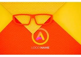 带有公司标识名称的橙色镜框镜头_6414961