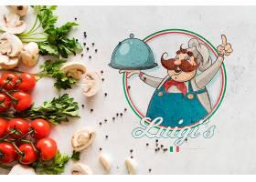 带有徽标的顶视图意大利食品配料_5451817
