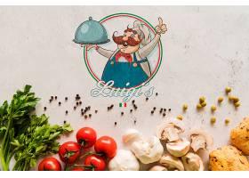 带有徽标的顶视图意大利食品配料_5451820