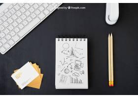 名片办公桌和铅笔画_1210390