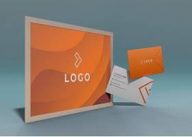 一套具有液体橙色效果的商业企业标识模型_5951653