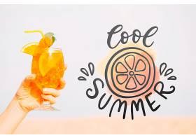 夏季鸡尾酒概念带复制空间样机_4724701