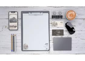 带摄影概念和剪贴板的文具模型_3047762