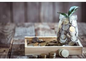 银行有硬币和绿色新芽_9435494