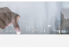 指向智能城市数字混音的企业视觉背景手指_15606831