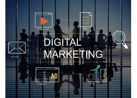 数字营销与图标和商务人士_11306702