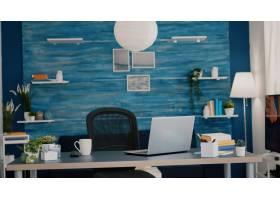 明亮的现代客厅没有人用蓝色家具和墙壁美_15876844