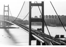 在香港的白天捕获的青马桥的灰度射击了_15695658