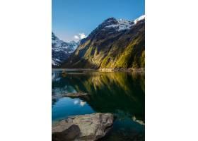 湖Marian和山的垂直的射擊在新西蘭_14196203