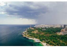 城市和海灣的全景鳥瞰圖_13652660