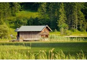 小木屋的美好的射擊在綠色樹中的和沿湖中的_13962739