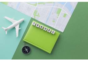 与白色飞机和地图的旅行概念_14308176