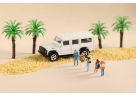 特寫鏡頭射擊了一個旅行的家庭的玩具小雕象_15447094