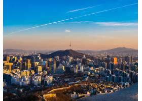 美好的建筑學大廈都市風景在首爾市_3799916