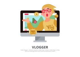 vlogger人与旅行提示博客符号平_12025777