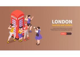 伦敦水平横幅与游人和访客拍摄的红色电话亭_13693324
