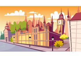 伦敦都市风景例证动画片伦敦着名地标在一_2703464