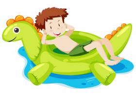 放置在恐龙游泳圆环的一个男孩在被隔绝的水_16267875