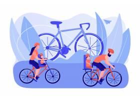 健康的生活方式父母和孩子一起做运动骑_11664286