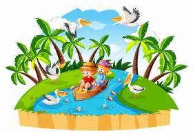 儿童排船在流森林场景中_11690278