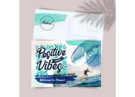 创意异国情调夏威夷旅行明信片模板_14658682