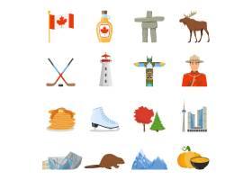 加拿大国家符号平面图标集合_3797899