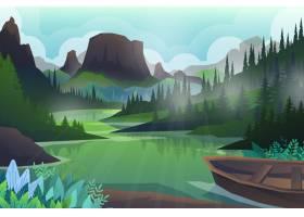 和平的小山和森林树和山岩石美好的风景_13330434