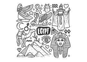 埃及图标手绘涂鸦着色_7754832