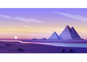 埃及金字塔和尼罗河在黄昏_12620500