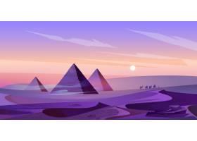 埃及金字塔和尼罗河在黄昏沙漠_12900177
