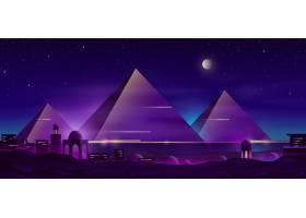 埃及金字塔夜景观卡通_4394559