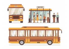 城市公交车停止平面图标_4187084