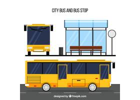 城市公交车和公共汽车站与平面设计_2339432