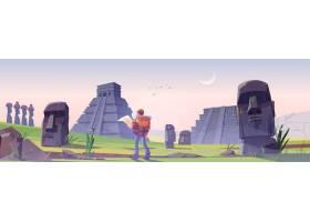 复活节岛的远足者人有古老玛雅金字塔和moai_15240898