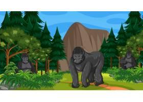 大猩猩集团生活在森林或雨林场景与许多树_16265251