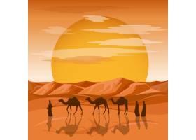 大篷车在沙漠背景中阿拉伯人和骆驼剪影在_13031987