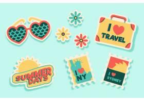 旅行假期贴纸收藏在70年代风格_6429674