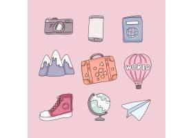 旅行的物品在漫画人物在桃红色背景的平的_13330969