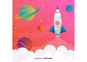 旅行通过空间梯度五颜六色的背景的火箭_4386439