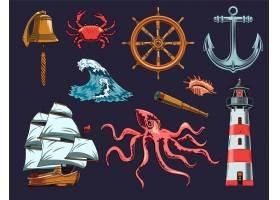 海上和航海元素例证集_13683542