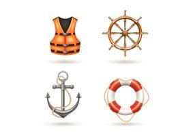 海洋现实图标设置与锚救生圈救生衣和舵_2874844