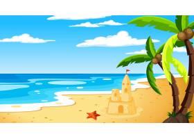 海滩在白天风景场面与天空_15125442