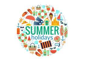 海滩暑假概念旅程和娱乐插图_13400090