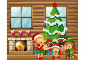 与许多孩子和逗人喜爱的狗的圣诞节室内场面_12356184