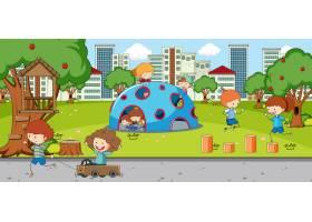 与许多孩子的户外场面在公园使用_14013887